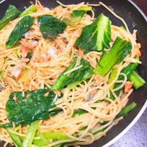 ホッておいても出来る!小松菜と鮭の簡単激ウマパスタ
