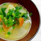 根菜と小松菜の味噌汁