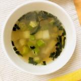 オクラと山芋の海苔スープ