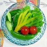 わさび菜とスナップえんどうのサラダ~♪