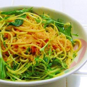 スパドレで~♪かにかまと水菜の簡単パスタ