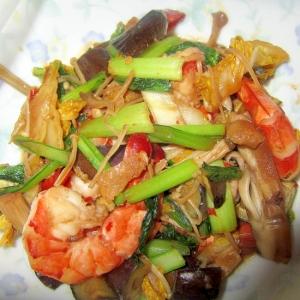 海老と白菜と小松菜茄子豆板醤焼き