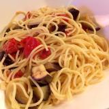 トマトなすマリネのスパゲティサラダ