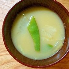 モロッコインゲンと白菜の味噌汁