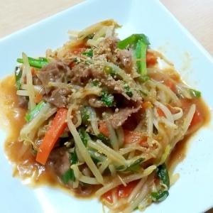 牛肉の中華風もやし野菜炒め