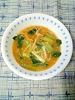☆小松菜えのきのキムチ味噌スープ☆