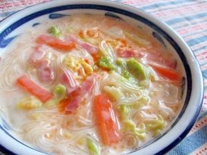白菜と春雨のピリ辛豆乳クリームスープ♪