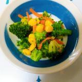 【給食】ブロッコリー人参コーンの3色サラダ