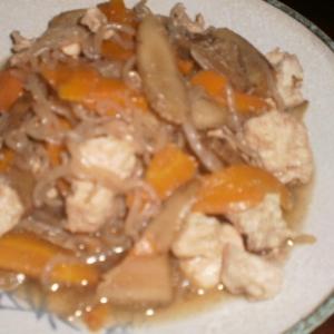 鶏肉の糸コントごぼう煮