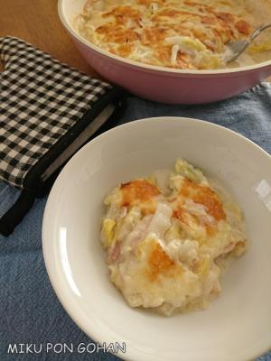 白菜とベーコンのあっさりグラタン