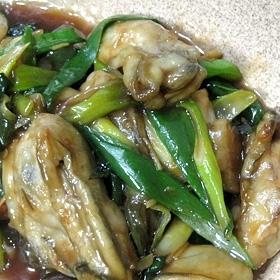牡蠣と九条ねぎの醤油炒め