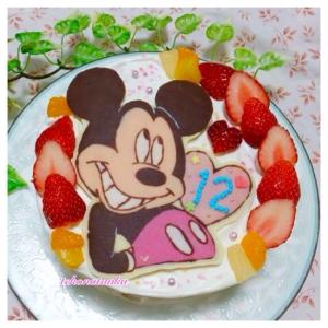 キャラチョコで♪ミッキーのバースデーケーキ
