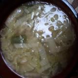 白菜と長ネギと油揚げのお味噌汁