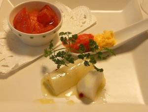 白い野菜マリネ トマトグラタン スクランブルエッグ