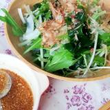 水菜ワカメ玉ねぎの簡単中華ドレッシングサラダ