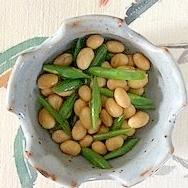 大豆の水煮といんげんの炒め物