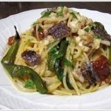 京野菜を味わう、鯛と万願寺唐辛子のスパゲッティーニ