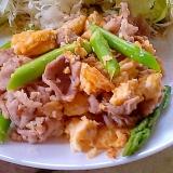 簡単!豚肉とアスパラと卵の炒め物
