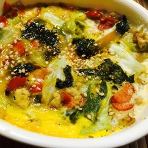 リメイク!豆腐チャンプルの海苔卵とじ