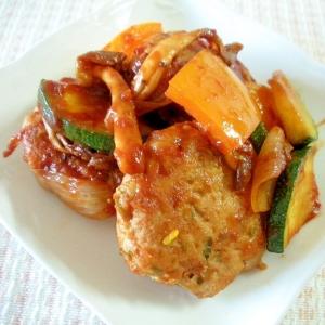 お弁当に!ミニバーグと夏野菜のケチャ風味