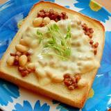 +茹で大豆で❤パン耳の納豆トースト♪(チーズ)