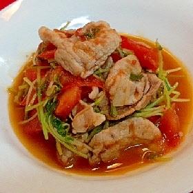 豚肉と豆苗とトマトの炒め物