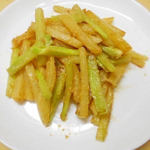 箸休めに☆ブロコの茎とじゃが芋の味噌マヨ炒め