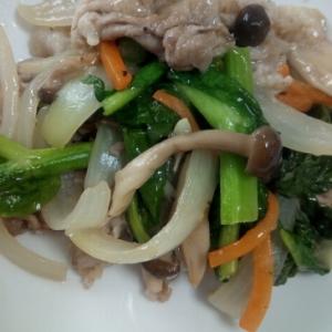 豚肉と菜の花といろいろ野菜の炒め物