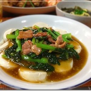 青菜とベーコンのあっさりあんかけ豆腐