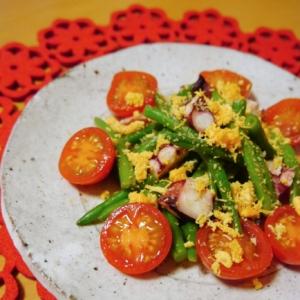 【カラフル♪】タコといんげんとトマトのミモザサラダ