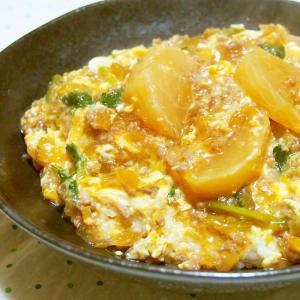 かぶとひき肉のとろとろ卵丼