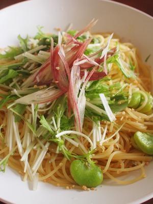 そら豆と水菜のスパゲティ