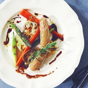 野菜とソーセージのグリル バルサミコソース添え