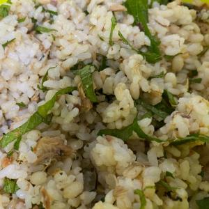 サバの味噌煮缶と大葉の炒飯