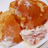 クリーム生ハムの大豆粉ホットケーキ