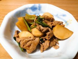 豚肉とかぶとかぶの葉のオイスターソース炒め
