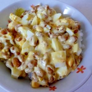 ☆茹で卵入り♪ ピリ辛納豆ご飯☆