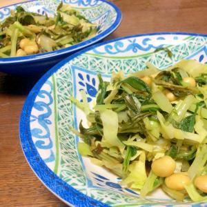 水菜とキャベツと水煮大豆のお浸し