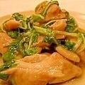 鶏肉と水菜のオイスター炒め