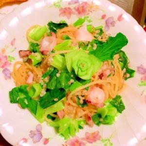 烏賊と小松菜と蕎麦米の蕎麦粉あんパスタ