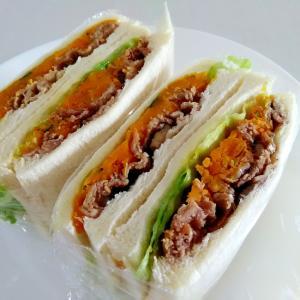 お弁当に☆豚肉とかぼちゃのサンドイッチ