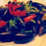 ムール貝とパプリカの炒め物