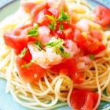 トマトとエビの冷たいオイルパスタ