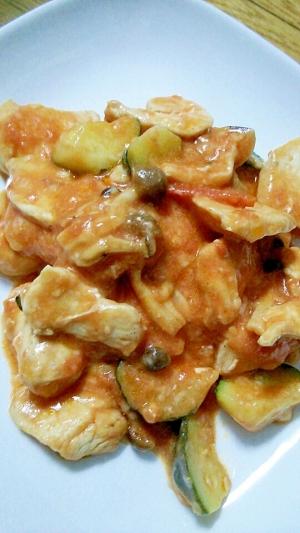 鶏肉としめじとズッキーニのトマトチーズ煮
