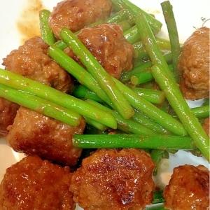 【糖質制限】にんにくの芽と肉団子のうま味噌炒め