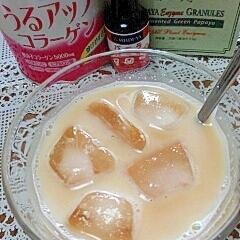 アイス☆パパイヤ酵素入り美肌なバニラきなこミルク♪