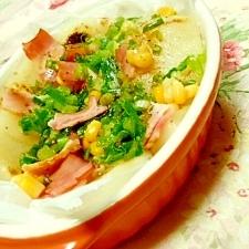 お餅で簡単❤ベーコンと葱の大蒜醤油❤