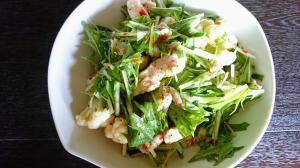 カリフラワーとサラダ水菜とささみのエスニックサラダ