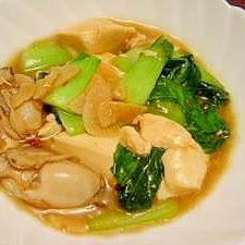 牡蠣(カキ)と青梗菜、豆腐の中華あんあけ