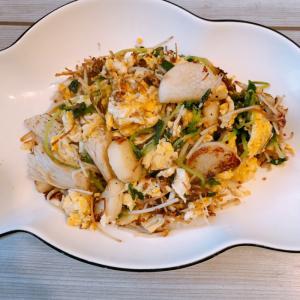 山芋とえのきと豆苗の卵炒め